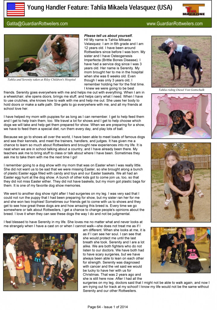 G:Magazine Issue 1 of 2014Young handler articleYoung Handler